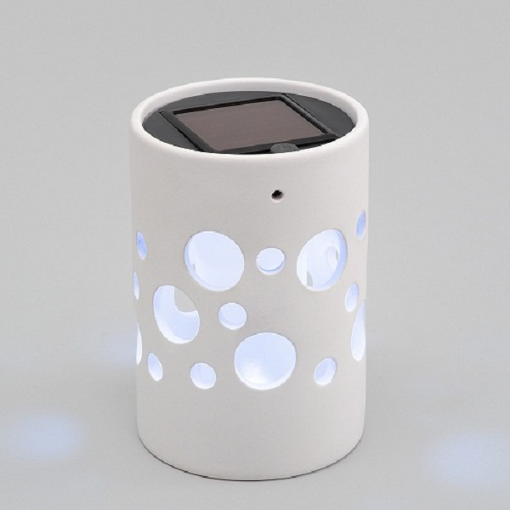 LED Solarlampe Genova Ton gerade weiß Solarleuchte 7800-200